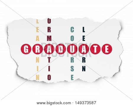 Education concept: Painted red word Graduate in solving Crossword Puzzle on Torn Paper background