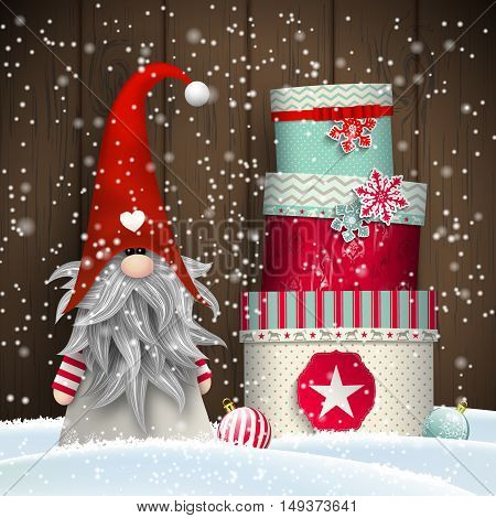 Nisser in Norway and Denmark, Tomtar in Sweden or Tonttu in Finnish, Scandinavian folklore elves, nordic christmas motive, Tomte standing in front of old wooden wall in snow, with stack of colorful gift boxes, vector illustration, eps 10 with transparency