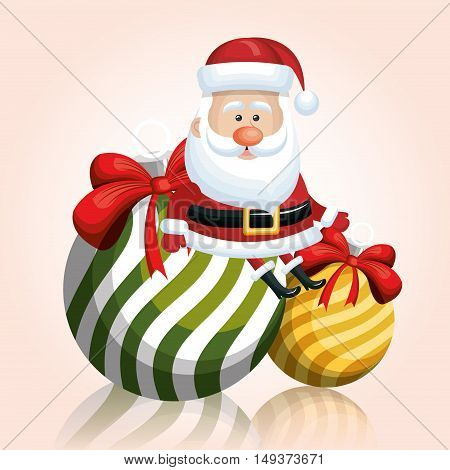 merry chrsitmas santa claus with two ball ribbon vector illustration