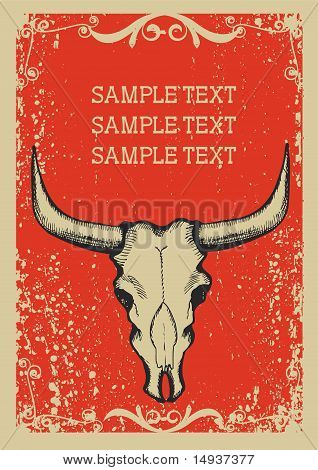 Cowboy Old Papaer Background For Text With Bull Skull .retro Image For Text