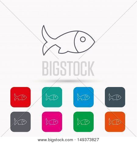 Fish with fin icon. Seafood sign. Vegetarian food symbol. Linear icons in squares on white background. Flat web symbols. Vector
