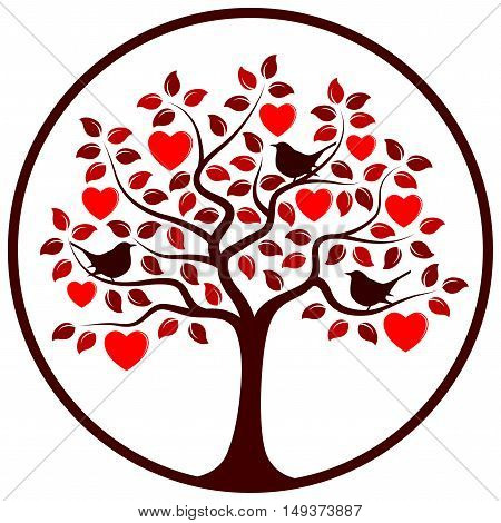 vector heart tree and birds in round isolated on white background