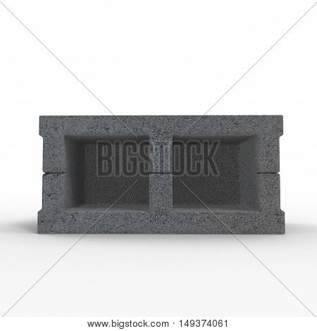 Single Gray Concrete Cinder Block Isolated on White Background. 3D illustration