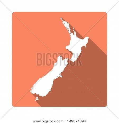 Vector New Zealand Map Button. Long Shadow Style New Zealand Map Square Icon Isolated On White Backg