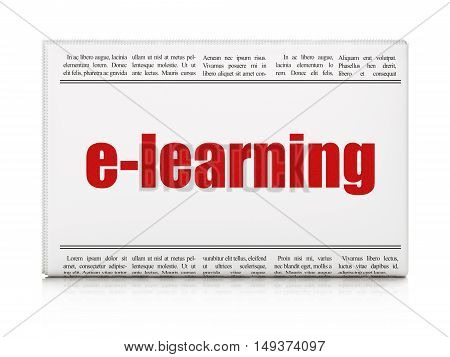 Studying concept: newspaper headline E-learning on White background, 3D rendering