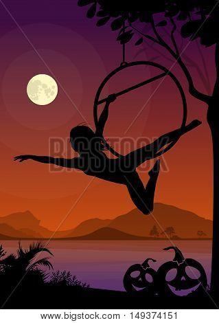 Halloween Style Silhouette of Air Gymnast . Black vector silhouette of female aerial hoop performer in front of river and full moon at night.
