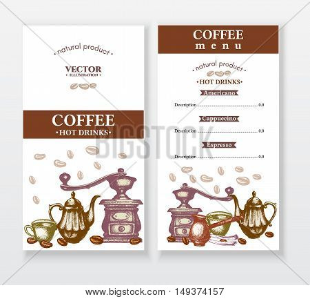 Coffee menu design template coffee cover hand drawn vector illustration