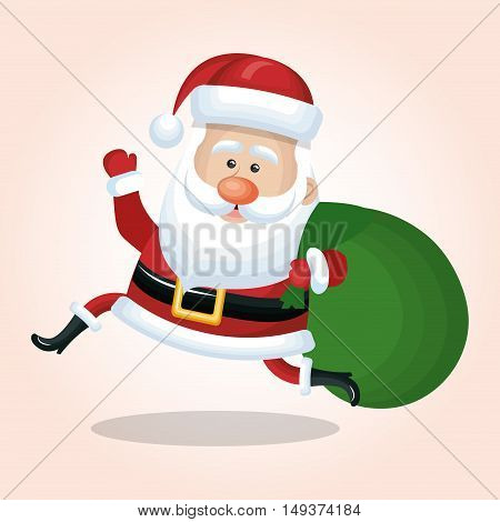 christmas santa claus jump happy with bag gift isolated vector illustration