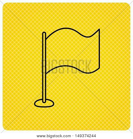 Waving flag icon. Location pointer sign. Linear icon on orange background. Vector