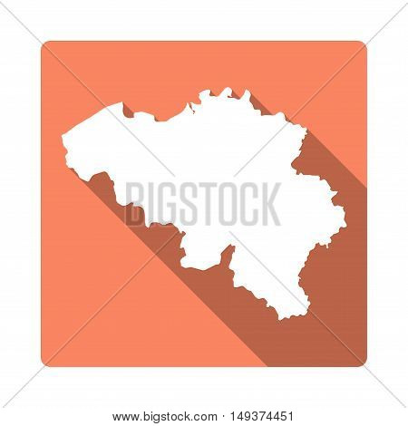 Vector Belgium Map Button. Long Shadow Style Belgium Map Square Icon Isolated On White Background. F