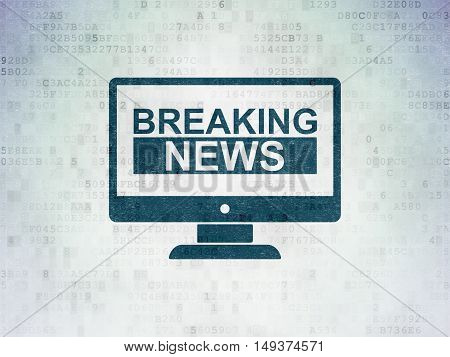 News concept: Painted blue Breaking News On Screen icon on Digital Data Paper background
