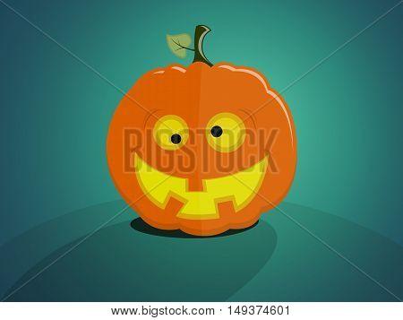 Halloween pumpkin with a crazy good face on plain background