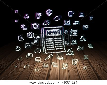 News concept: Glowing Newspaper icon in grunge dark room with Wooden Floor, black background with  Hand Drawn News Icons