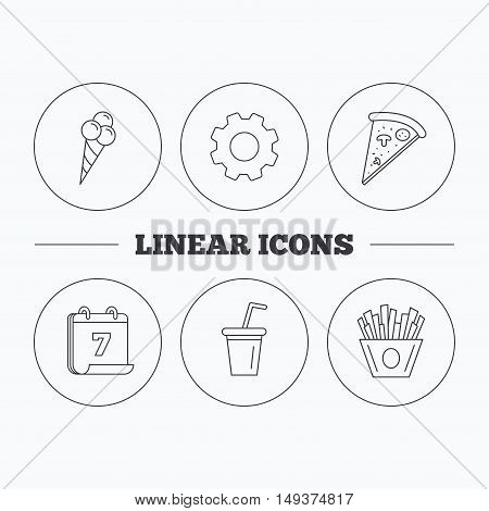 Ice cream, pizza and soft drink icons. Chips fries linear sign. Flat cogwheel and calendar symbols. Linear icons in circle buttons. Vector