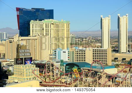 LAS VEGAS - DEC 24: Las Vegas aerial view, photo includes Hilton Grand Vacation, Marriott's Grand Chateau and New York-New York on Dec 24, 2015 in Las Vegas, Nevada, USA.