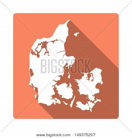 Vector Denmark Map Button. Long Shadow Style Denmark Map Square Icon Isolated On White Background. F