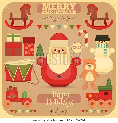 Merry Christmas and Happy New Year Card in Retro Style. Vintage Toys Collection - Wooden Santa Claus Snowman Train. Vector Illustration.