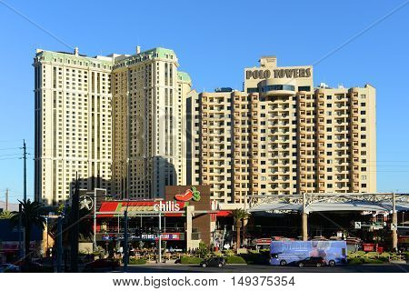 LAS VEGAS - DEC 24, 2016: Marriott's Grand Chateau (left) and Polo Towers by Diamond Resorts (right) on Las Vegas Strip on Dec. 24, 2016 in Las Vegas, Nevada, USA.