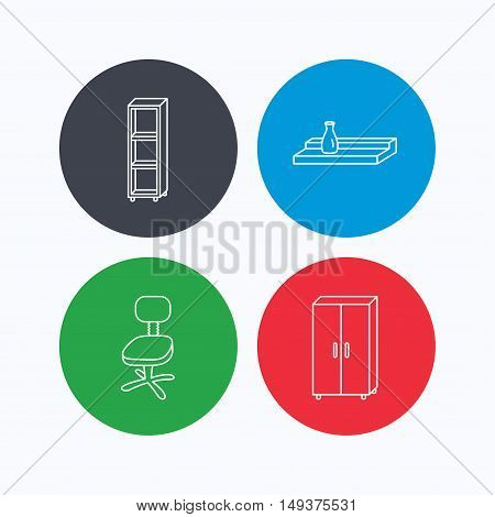 Office chair, cupboard and shelving icons. Wall shelf linear sign. Linear icons on colored buttons. Flat web symbols. Vector