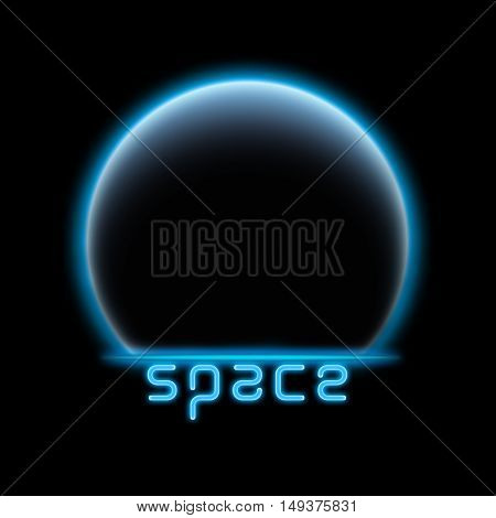 Eclipse background in blue light. wit SPACE text