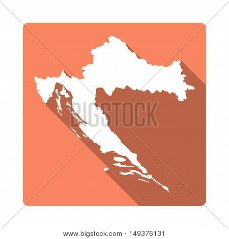 Vector Croatia Map Button. Long Shadow Style Croatia Map Square Icon Isolated On White Background. F