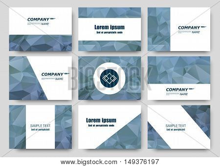 Abstract composition business card set correspondence letter collection brochure title sheet certificate diploma patent charter figure frame surface polygonal diamond backdrop vector