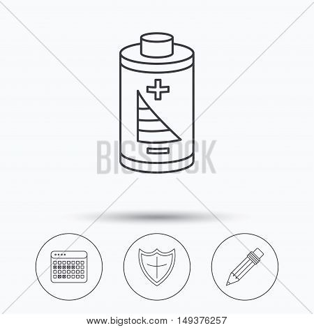 Battery, pencil and protection shield icons. Vacation calendar linear sign. Linear icons in circle buttons. Flat web symbols. Vector