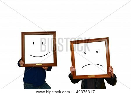 Two men with image frames and emoticons