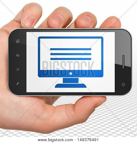 Web development concept: Hand Holding Smartphone with blue Monitor icon on display, 3D rendering