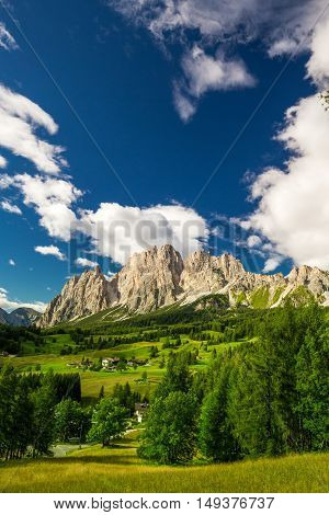 Magnificent Valley With Cristallo Mountain Group Near Cortina D'ampezzo, Dolomites Mountains, Italy