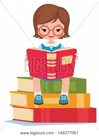 Girl pupil sitting on a pile books and reads Stock vector illustration
