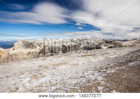 People hiking in Sass Pordoi Dolomites Italy Europe