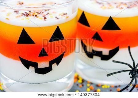 Halloween food background candy corn jello traditional dessert