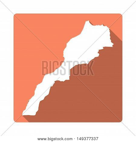 Vector Morocco Map Button. Long Shadow Style Morocco Map Square Icon Isolated On White Background. F
