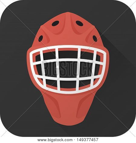Icon, flat, vector, ice hockey, goalie, helmet, sportswear, uniform, protection, mask, casque, lattice, grill, professional sport, game, no people, sport, equipment, training, competitive sport, team sport, long, shadow, infographics, square, shape, simpl