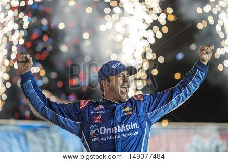 Sparta, KY - Sep 24, 2016: Elliott Sadler celebrates his win in Victory Lane  during the VisitMyrtleBeach.com 300 weekend at the Kentucky Speedway in Sparta, KY.