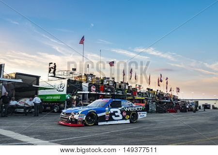 Sparta, KY - Sep 23, 2016: Ty Dillon drives the #3 WESCO Chevy onto the track  during the VisitMyrtleBeach.com 300 weekend at the Kentucky Speedway in Sparta, KY.