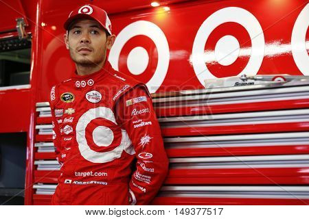 Loudon, NH - Sep 23, 2016: Kyle Larson (42) hangs out in the garage during practice for the Bad Boy Off Road 300 at the New Hampshire Motor Speedway in Loudon, NH.