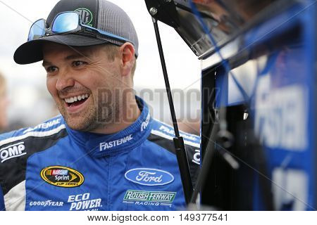 Loudon, NH - Sep 23, 2016: Ricky Stenhouse Jr. (17) gets ready to qualify for the Bad Boy Off Road 300 at the New Hampshire Motor Speedway in Loudon, NH.