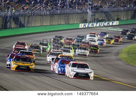 Sparta, KY - Sep 24, 2016: Erik Jones (20) and Daniel Suarez (19) lead the field to the start of the VisitMyrtleBeach.com 300 at the Kentucky Speedway in Sparta, KY.
