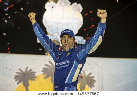 Sparta, KY - Sep 24, 2016: Elliott Sadler (1) wins the VisitMyrtleBeach.com 300 at the Kentucky Speedway in Sparta, KY.