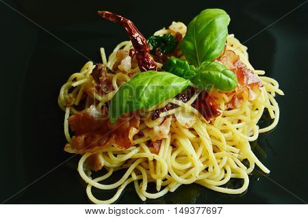 Fusion Food Italian mix Thailand style  Spaghetti with salted fish and bacon