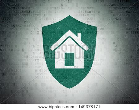 Finance concept: Painted green Shield icon on Digital Data Paper background