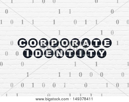 Finance concept: Painted black text Corporate Identity on White Brick wall background with Binary Code