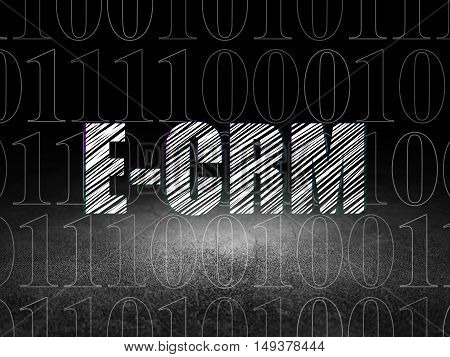 Finance concept: Glowing text E-CRM in grunge dark room with Dirty Floor, black background with  Binary Code
