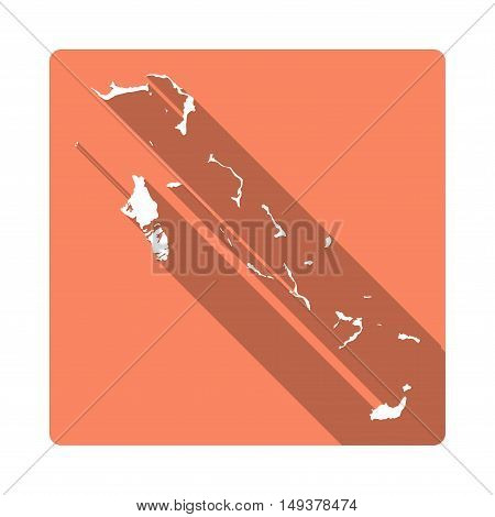 Vector Bahamas Map Button. Long Shadow Style Bahamas Map Square Icon Isolated On White Background. F