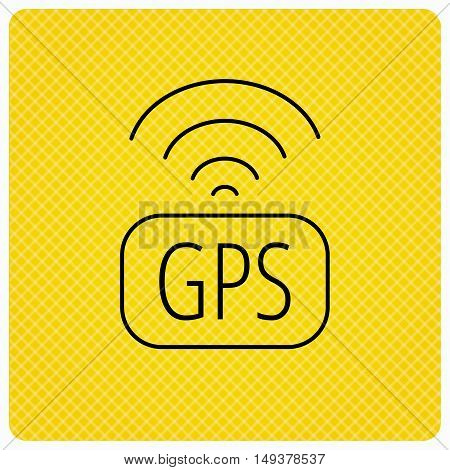 GPS navigation icon. Map positioning sign. Wireless signal symbol. Linear icon on orange background. Vector