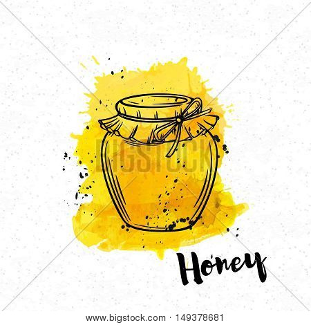Hand drawn Honey bank on a yellow watercolor background. Vector illustration in old ink style.