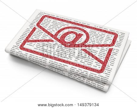 Business concept: Pixelated red Email icon on Newspaper background, 3D rendering