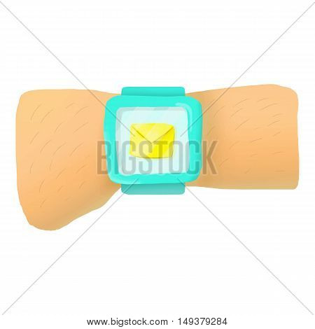 Hand with smart watch and message icon in cartoon style isolated on white background. Communication symbol vector illustration